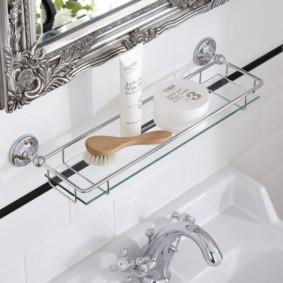 стеклянные полки для ванной комнаты идеи вариантов