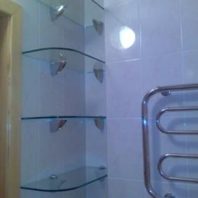 стеклянные полки для ванной комнаты фото виды