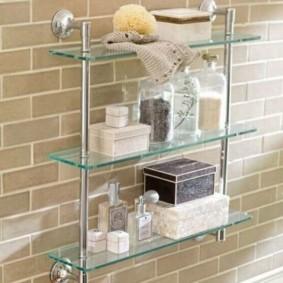 стеклянные полки для ванной комнаты виды дизайна