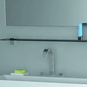 стеклянные полки для ванной комнаты виды оформления