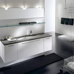стеклянные полки для ванной комнаты дизайн фото