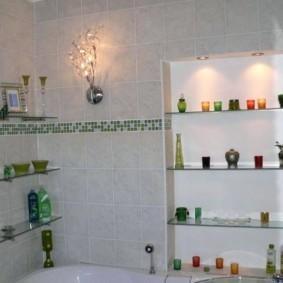 стеклянные полки для ванной комнаты фото дизайна