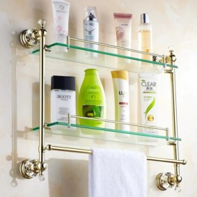 стеклянные полки для ванной комнаты дизайн идеи