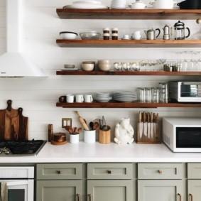 стеллаж для кухни в виде полок