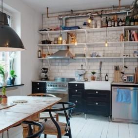 открытый стеллаж для кухни