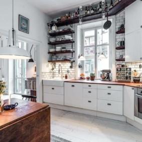 стеллаж для кухни с черными полками