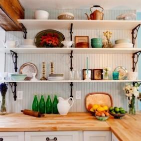 стеллаж для кухни белого цвета