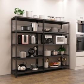 стеллаж для кухни черного цвета