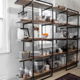 стеллаж для кухни в стиле лофт