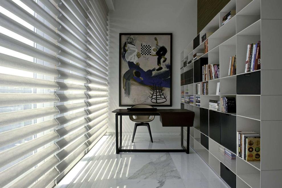 Зонирование спальни-кабинета с помощью стеллажа
