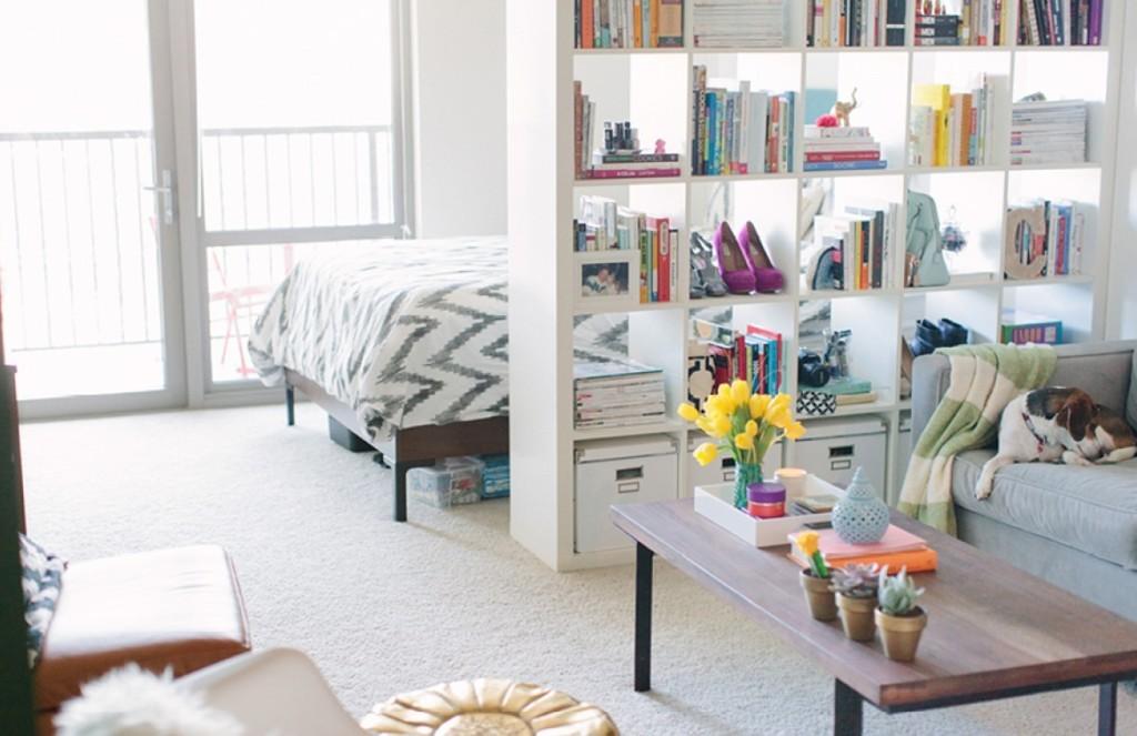 Зонирование квартиры-студии стеллажом для книг