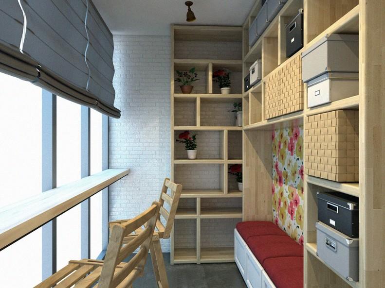 Открытые стеллажи на остекленном балконе