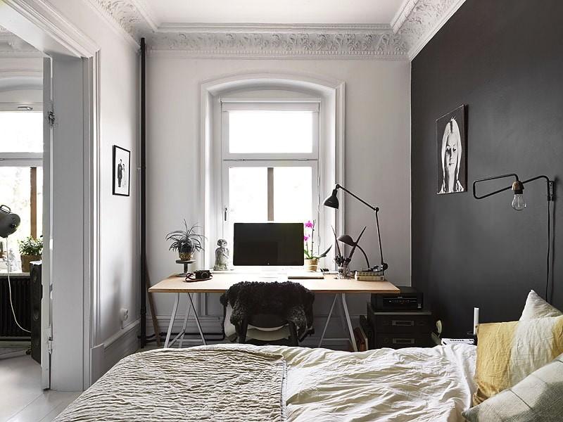 Зонирование спальни с кабинетом цветом стен