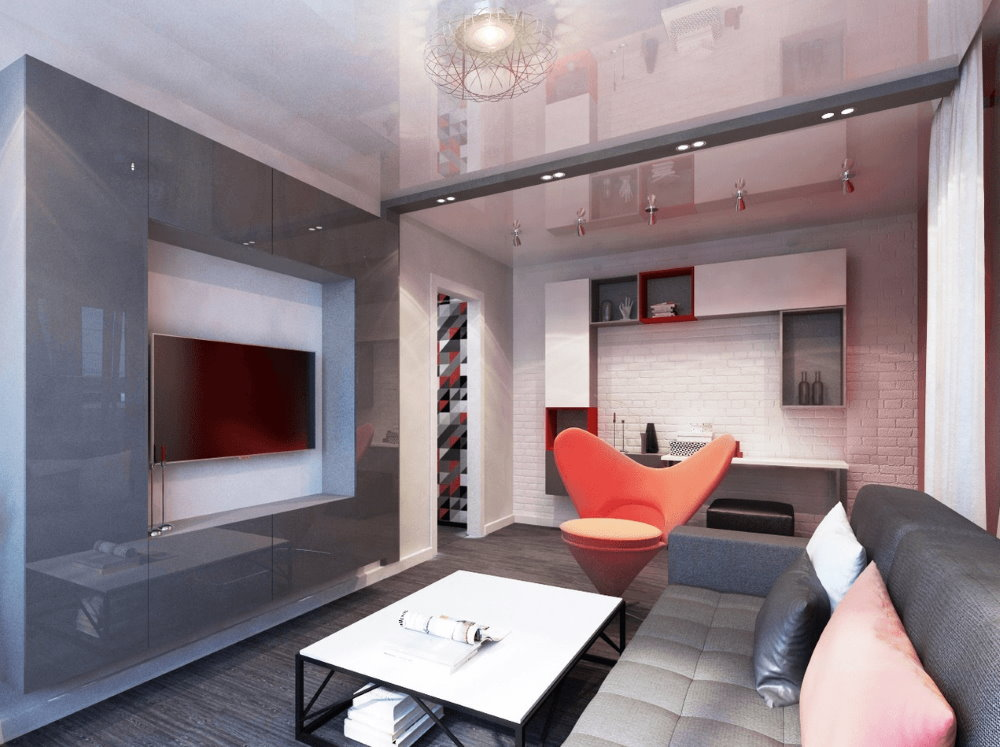 Дизайн квартиры-студии площадью 18 кв м в стиле хай-тек