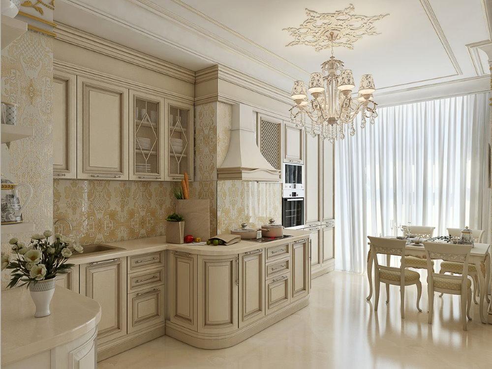 Бежевая мебель в квартире-студии классического стиля