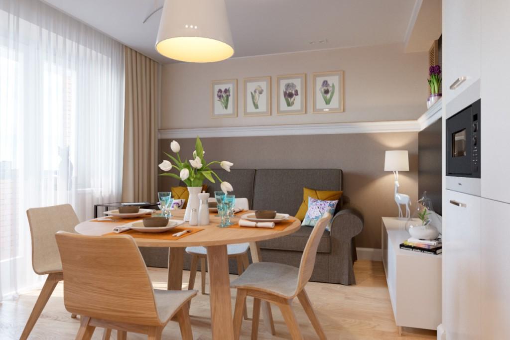 Обеденный стол в квартире-студии площадью 26 квадратов