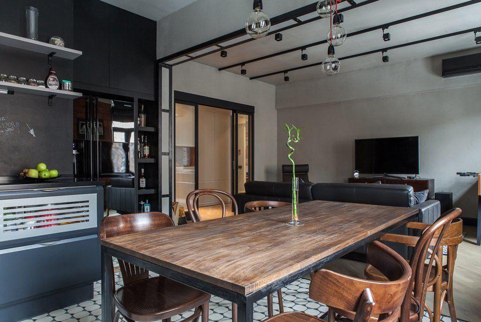 Кухня-столовая в стиле лофт для холостяка