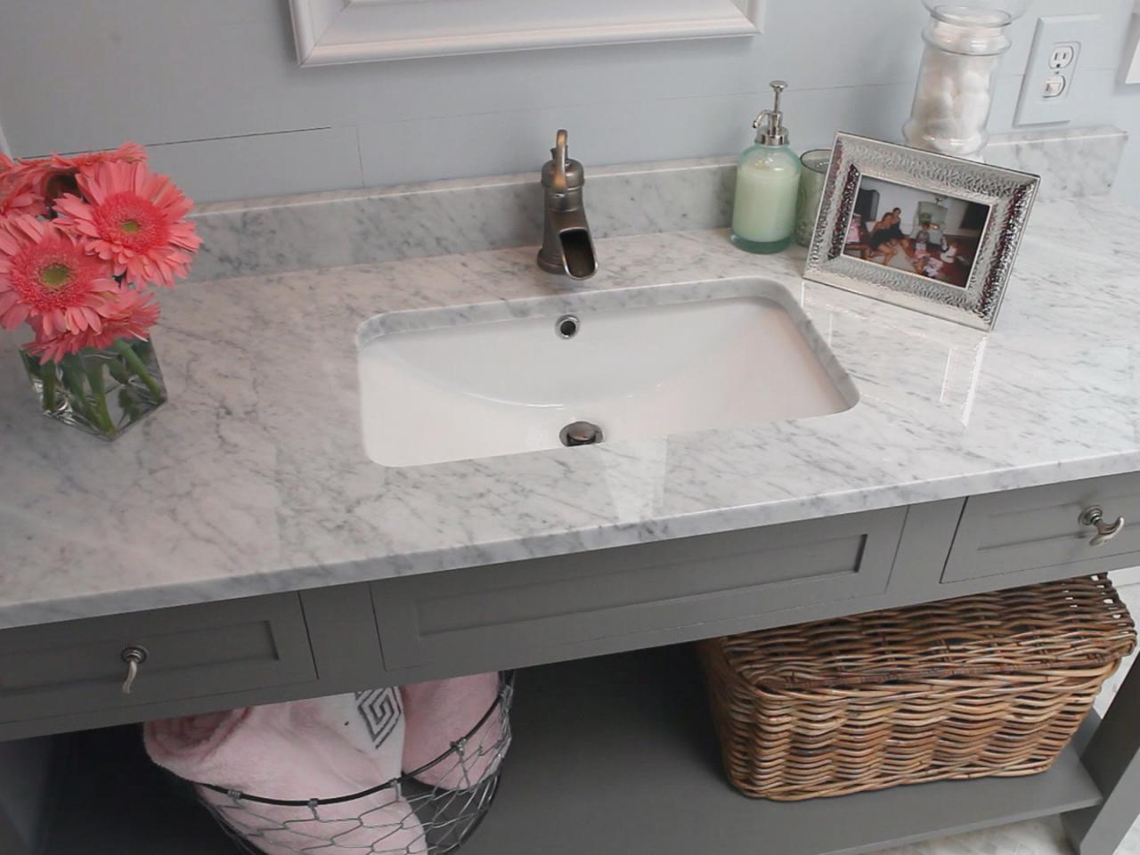 столешница в ванную с прямоугольной раковиной