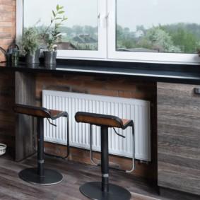 столешница вместо подоконника на кухне интерьер фото