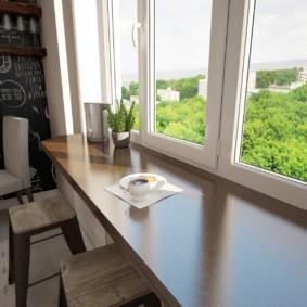 столешница вместо подоконника на кухне фото интерьера