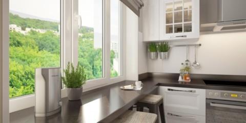 столешница вместо подоконника на кухне угловое размещение