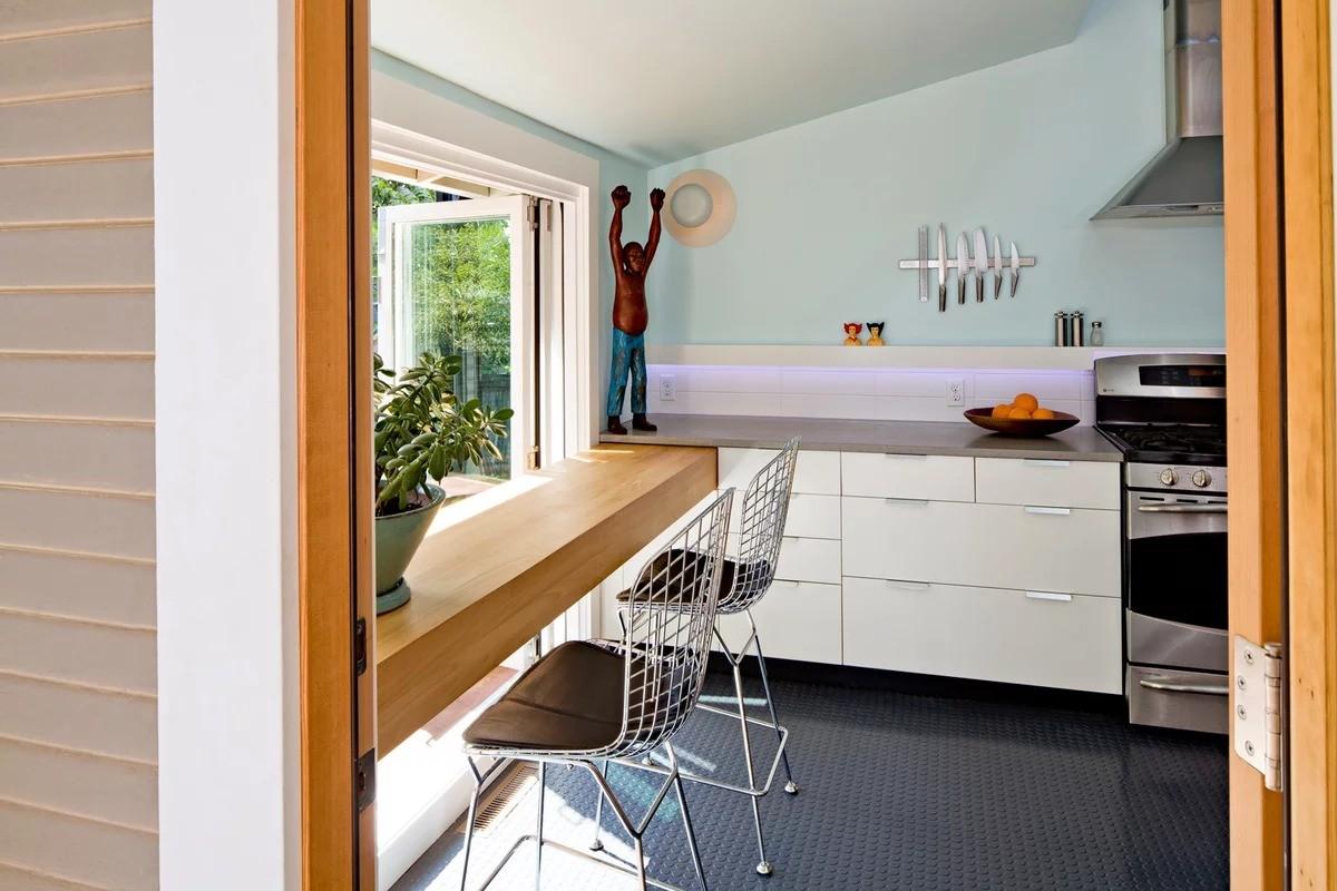 столешница вместо подоконника на кухне