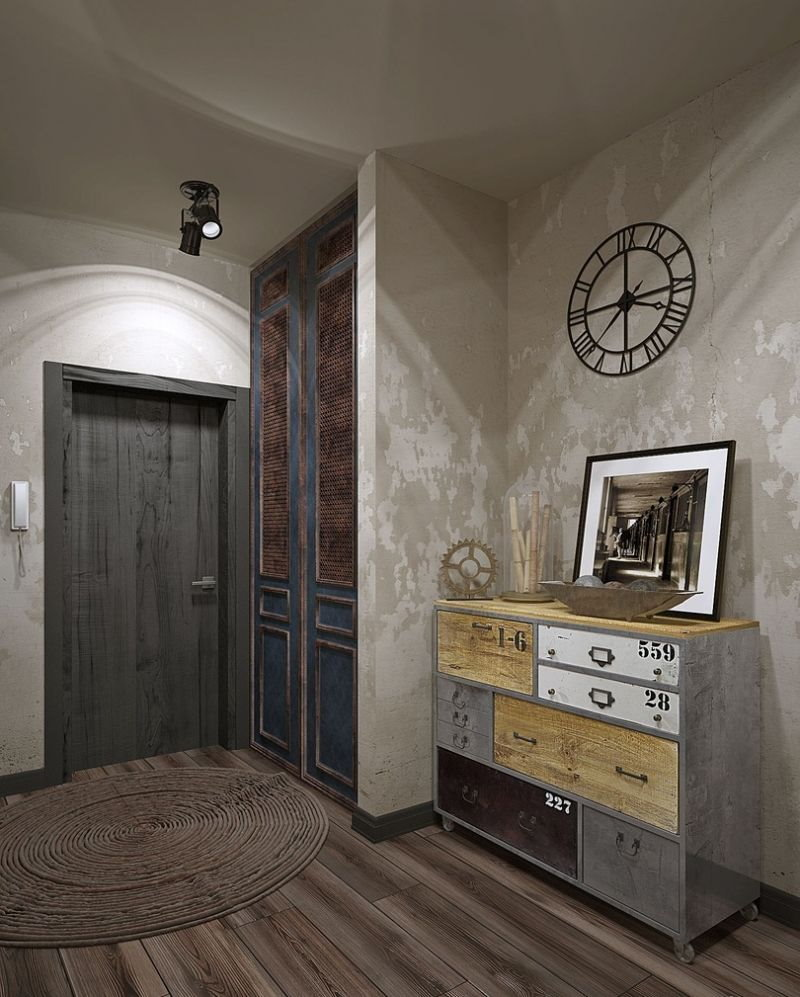 Освещение прихожей с бетонными стенами