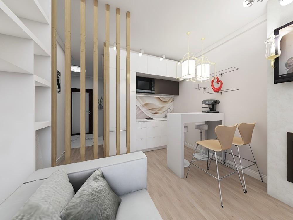 Дизайн квартиры студии площадью 17 кв м в светлых тонах