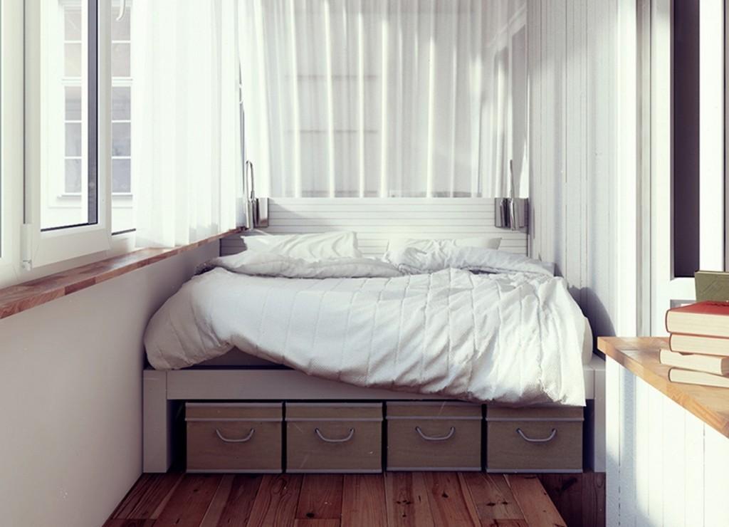 кровать на лоджии дизайн фото новогодняя