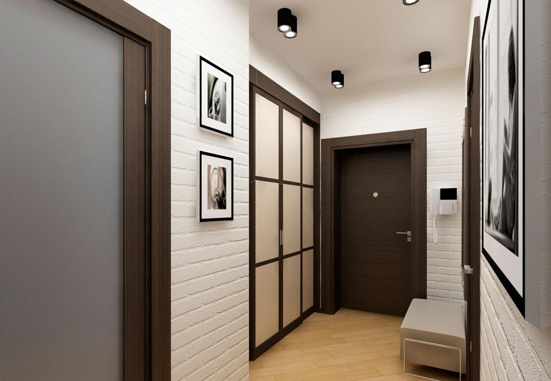 темные двери в декоре коридора