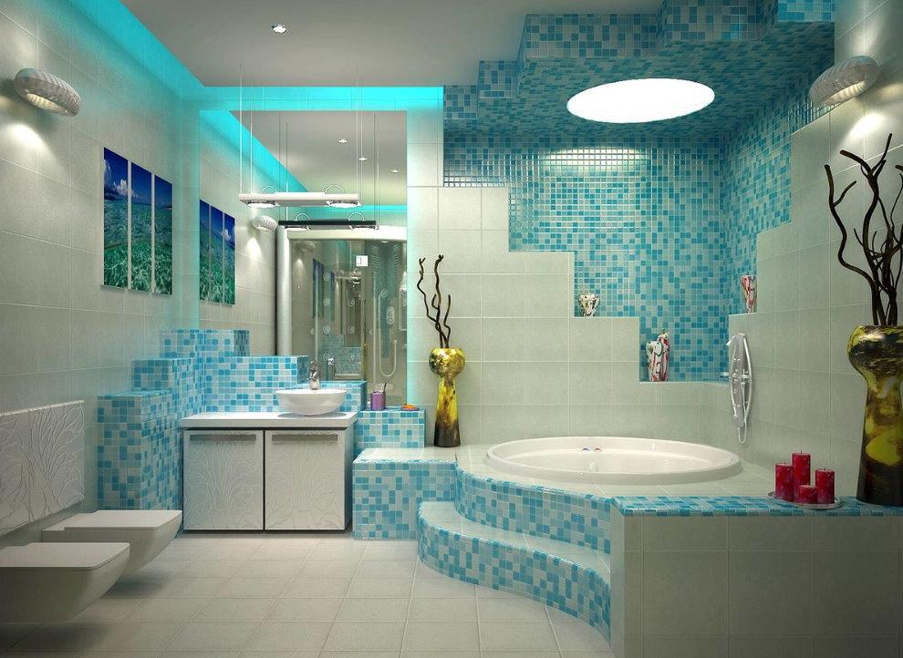 Ванна на подиуме в просторной комнате