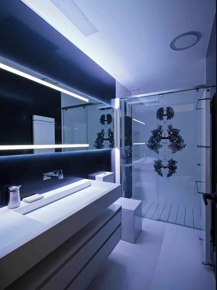 Дизайн ванной комнаты в стиле хай-тек