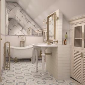 Дизайн ванной в мансарде частного дома