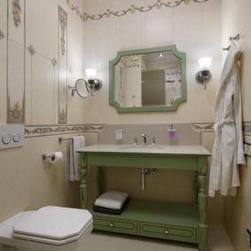 Зеленый цвет в интерьере ванной