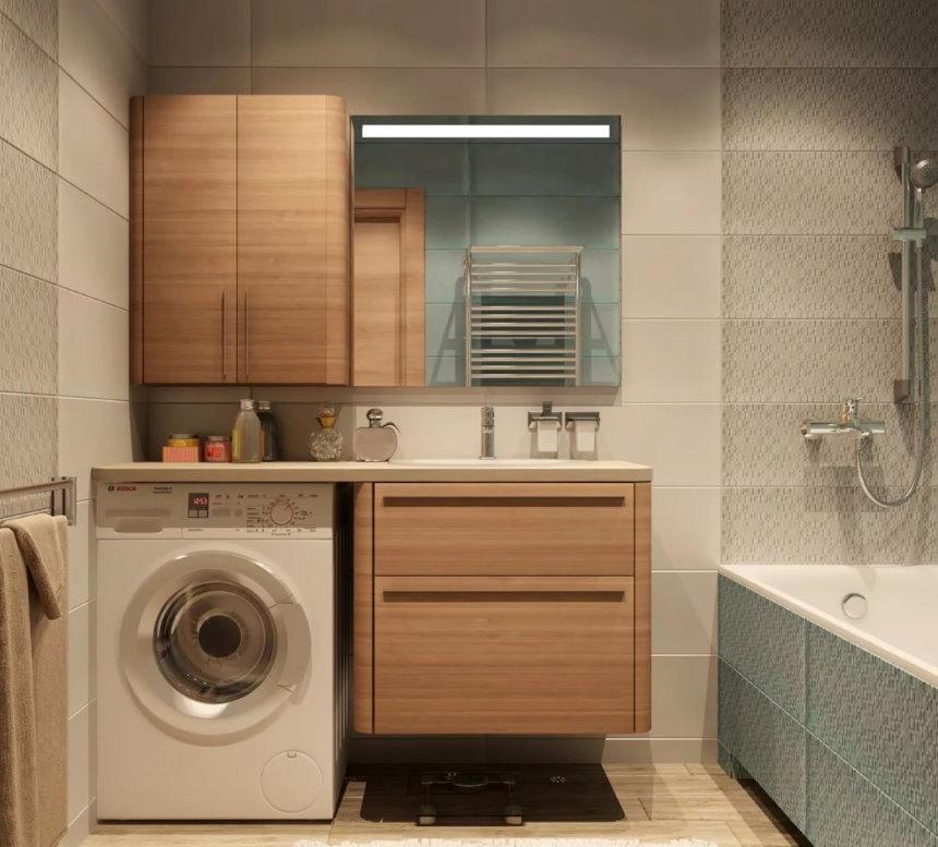 Ванная со стиральной машинкой под столешницей