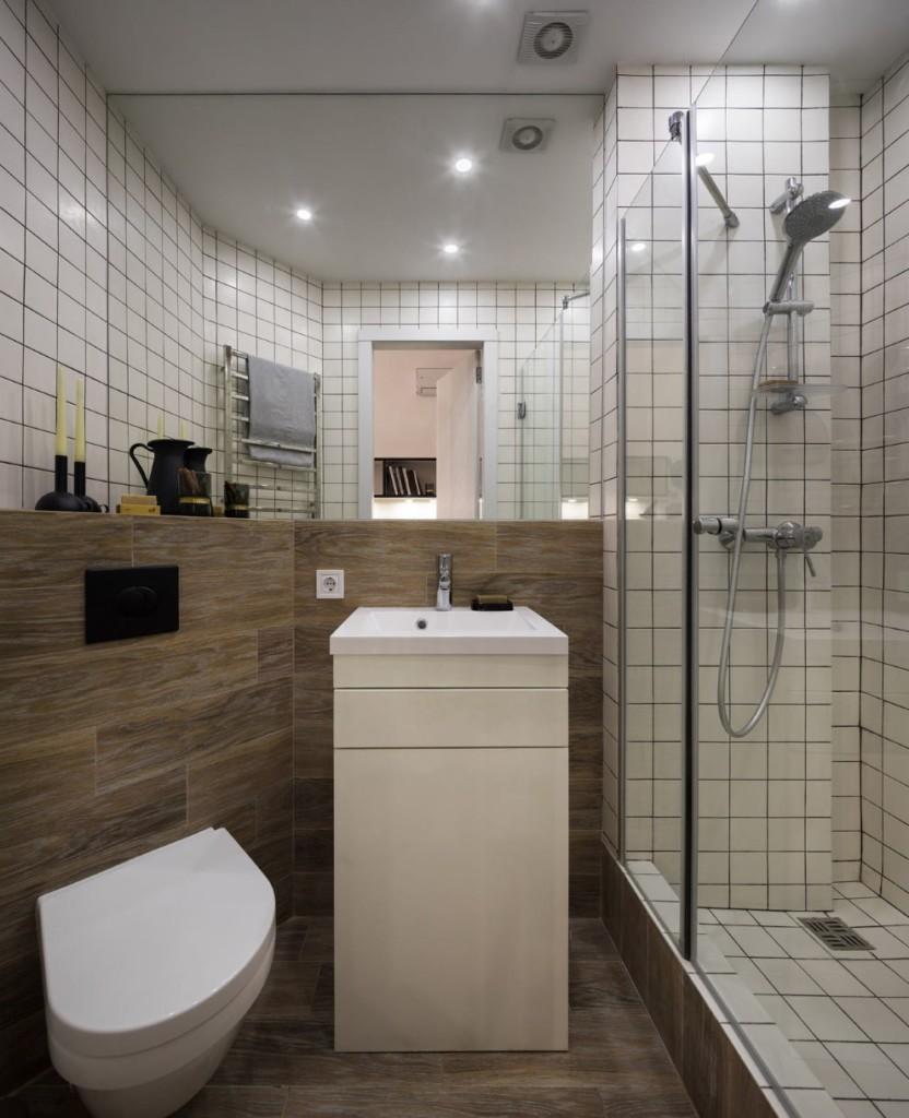 Ванная комната в квартире студии 17 квадратов