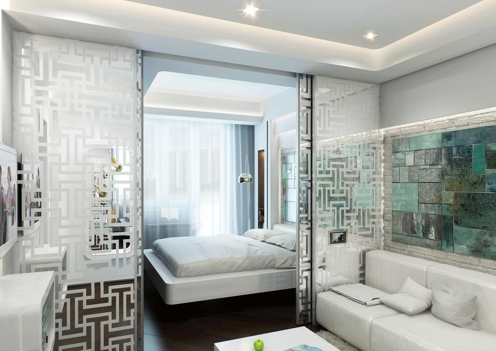 вариант дизайна спальни гостиной 14 кв м