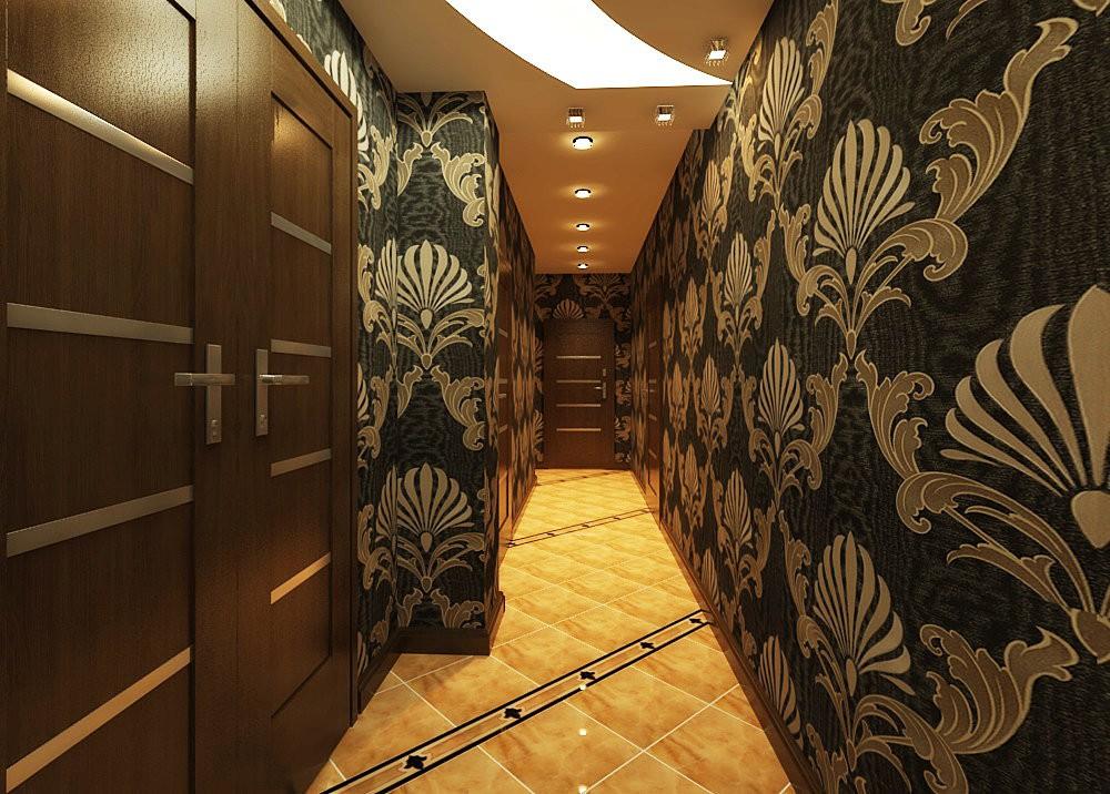 обои в коридоре с темными дверями