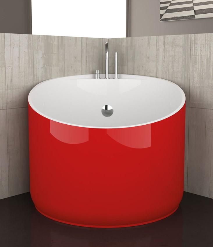Красная акриловая ванна круглой формы