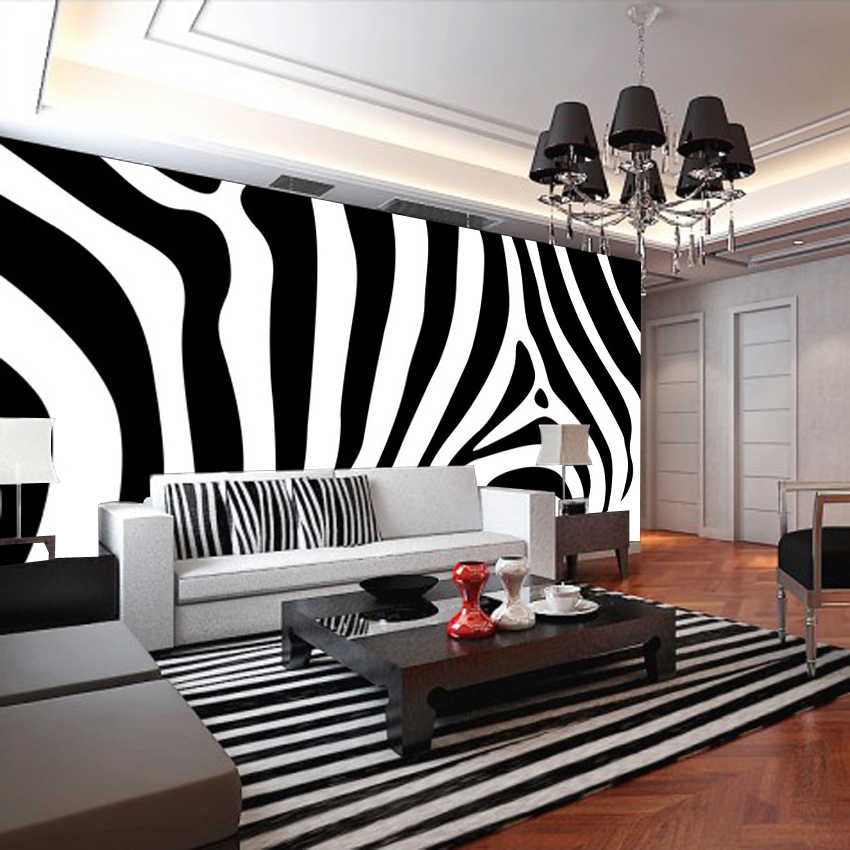 Черно-белая зебра на стене гостиной