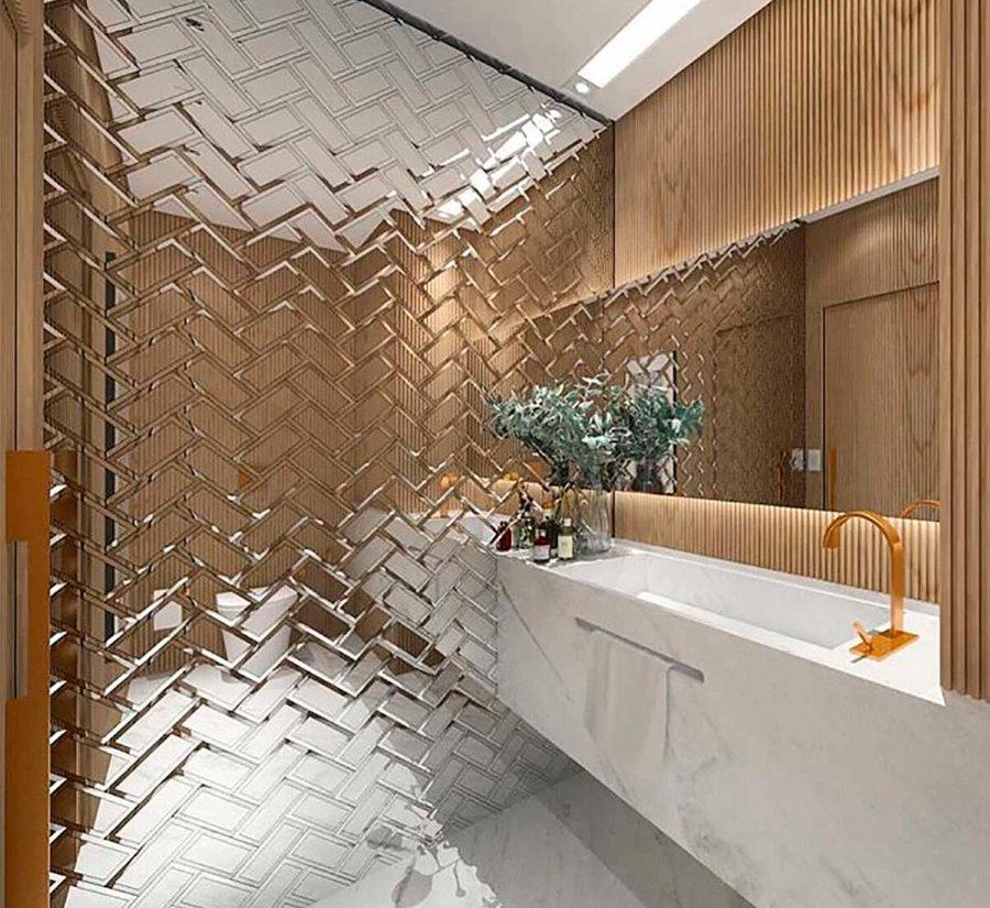 Зеркальная плитка вместо керамики в интерьере ванной
