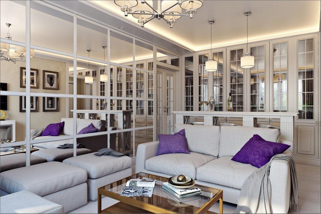 Зеркальные стены в однокомнатной квартире