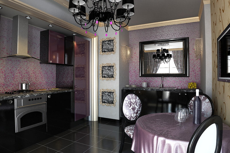 Зеркало в черной оправе на стене кухни в стиле арт-деко