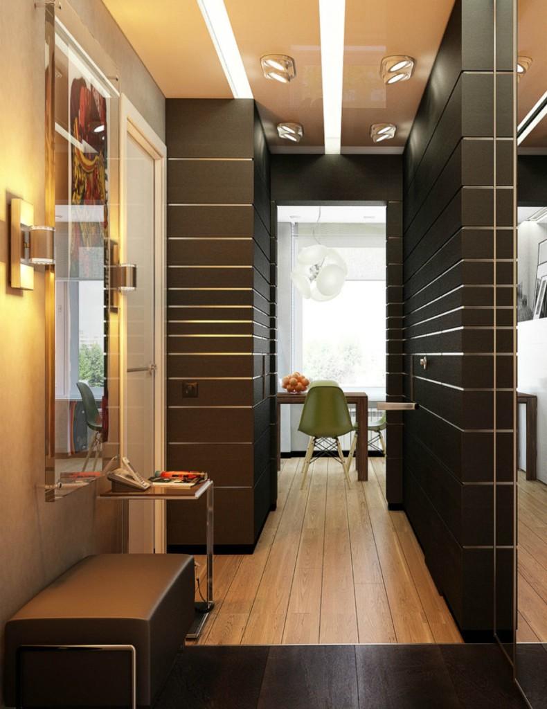Зеркало на стене прихожей в стиле минимализма