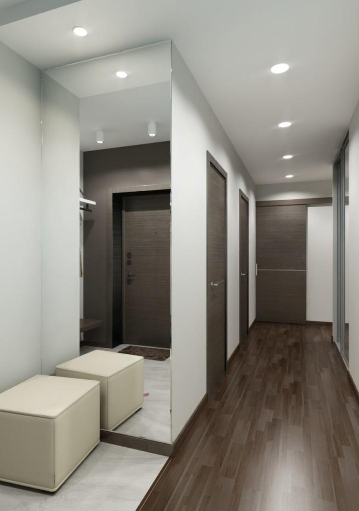 Коричневый пол в коридоре стиля хай-тек