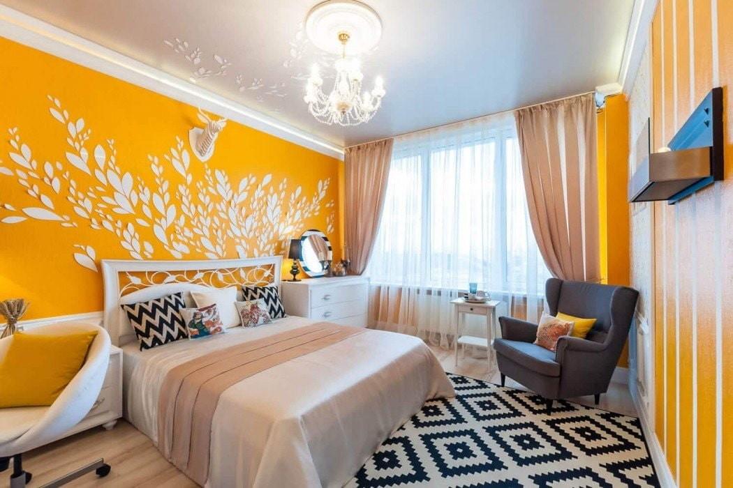 желтая спальня фото оформление