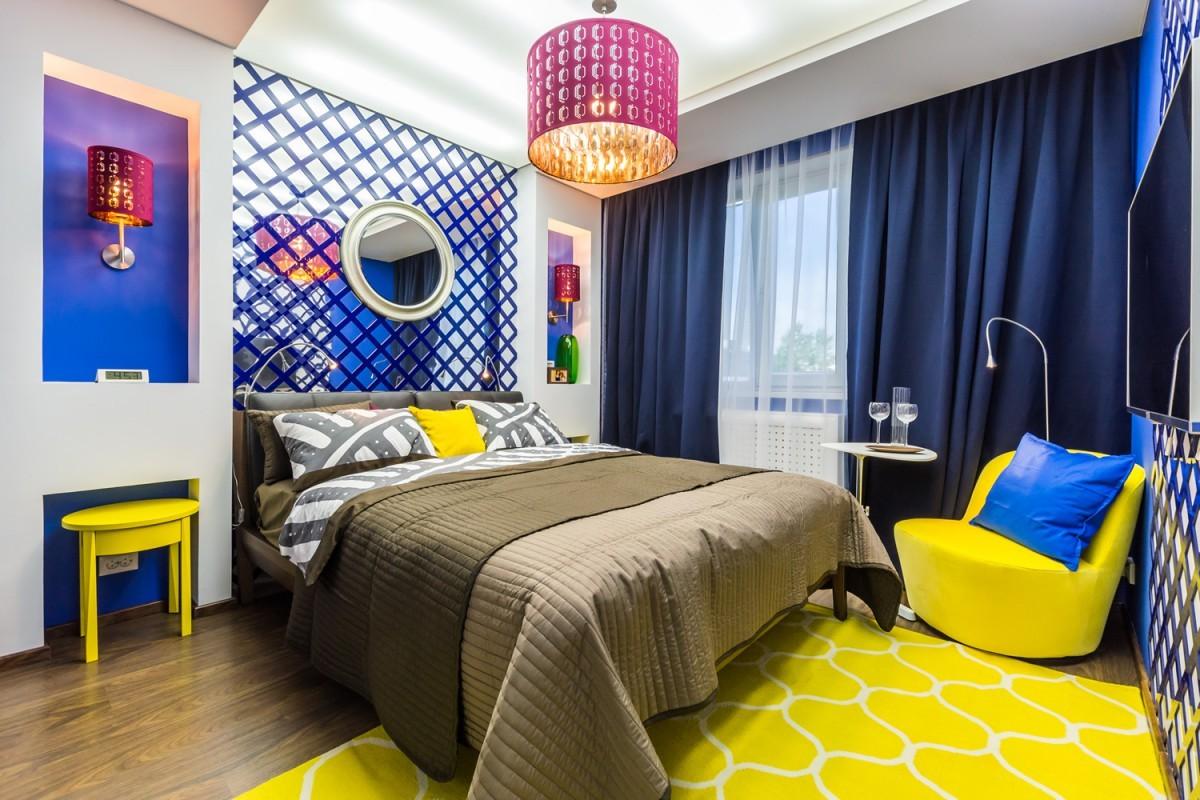 желтая спальня интерьер