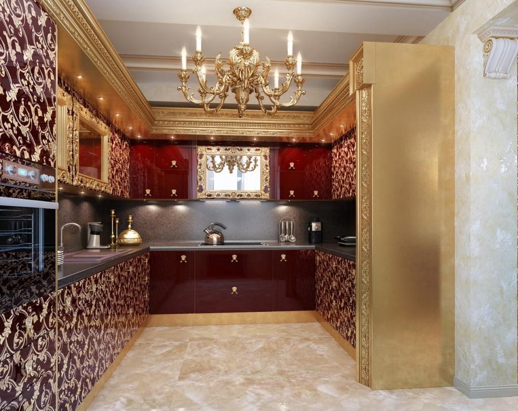 Золотая отделка деревянной мебели на кухне арт деко