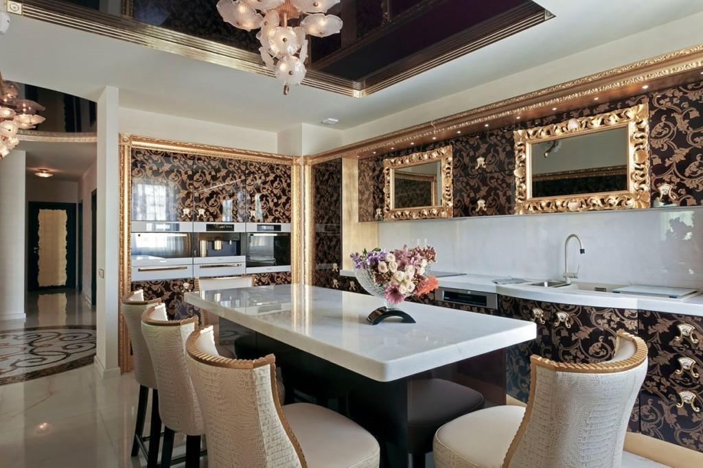 Позолоченные зеркала на кухне в стиле арт деко