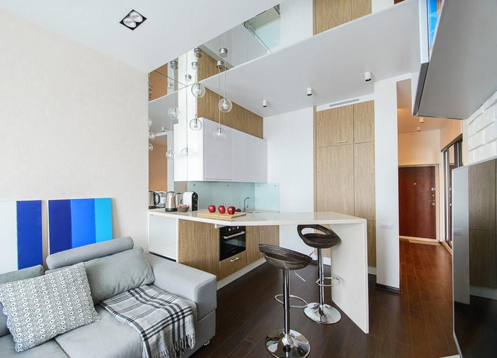 Угловая барная стойка в кухне однокомнатной квартиры